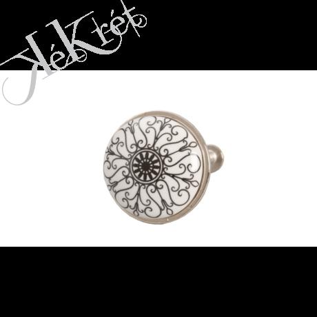 Ajtófogantyú 3cm, fehér ezüst mintás kerámia,fém kerettel