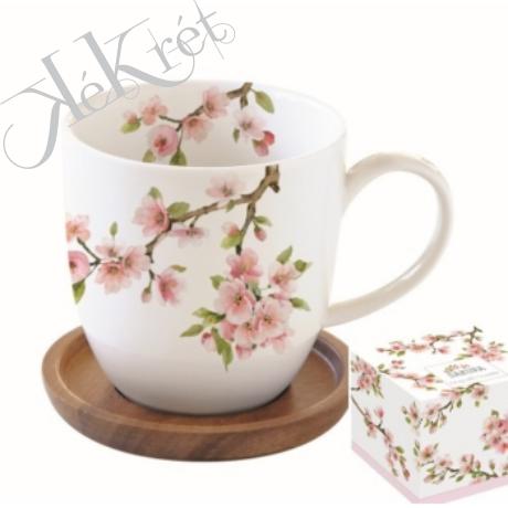 Porcelán bögre akácfa alátéttel,350ml,dobozban,Sakura