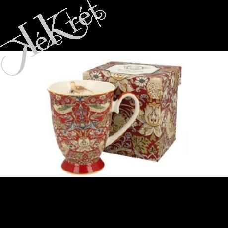 Porcelánbögre 325ml, William Morris, piros
