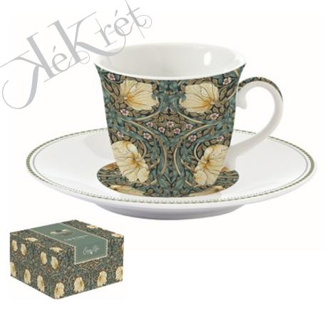 Porcelán teáscsésze+alj, 200ml, dobozban, William Morris, Black