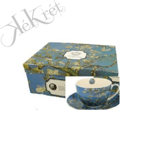 Porceláncsésze+alj, 280ml, 6 személyes, Van Gogh: Mandulavirágzás