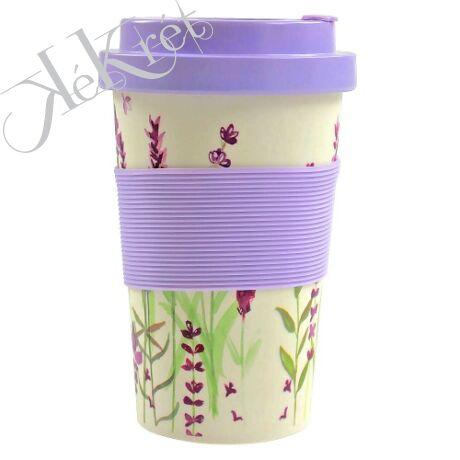 Utazóbögre bambusz, műanyag tetővel, szilikongyűrűvel, 9x9x14cm, Lavender