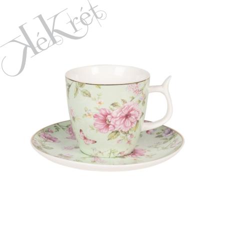 Porceláncsésze+alj pillangós-virágos 13x2cm/7x7cm, zöld,aranyszegéllyel