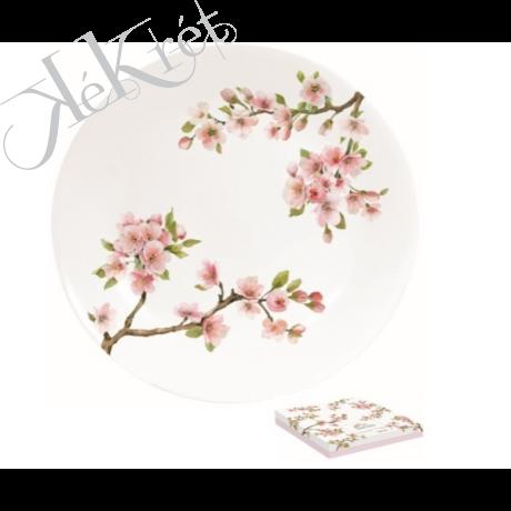 Porcelán desszerttányér 19cm, díszdobozban, Sakura