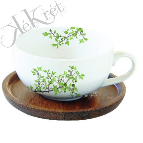 Porcelán teáscsésze akácfa aljjal, 250ml, dobozban, Natura
