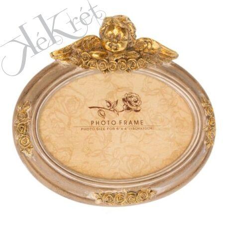 Képkeret angyallal ovális poly 18,5x16,5x2,8 cm arany