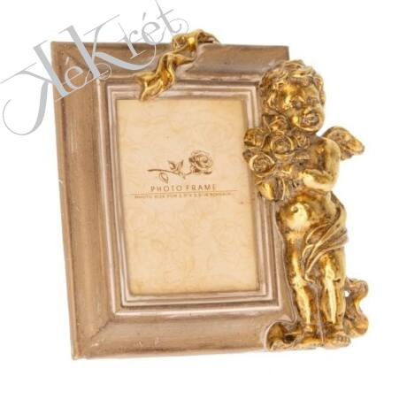 Képkeret angyallal poly 14x14x3,3 cm arany