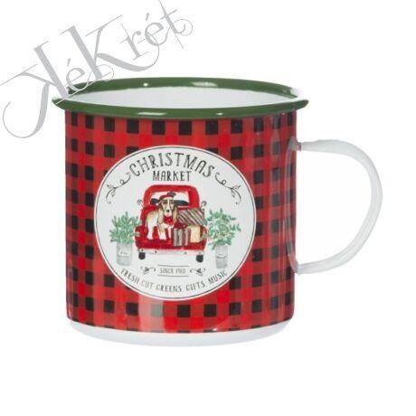 """Bögre kockás """"Christmas Market"""" felirattal bádog 11x11x10cm fehér,piros,zöld"""