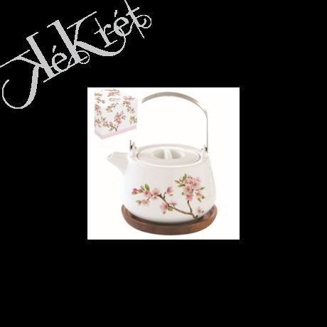 Porcelán teáskanna akácfa tálcán,750ml,dobozban,Sakura