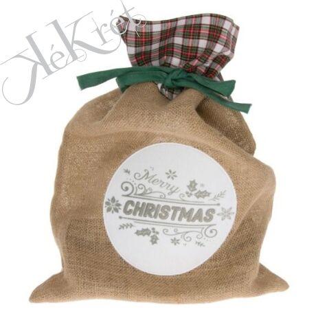 Merry Christmas feliratos zsák vászon, textil 30x43cm bézs