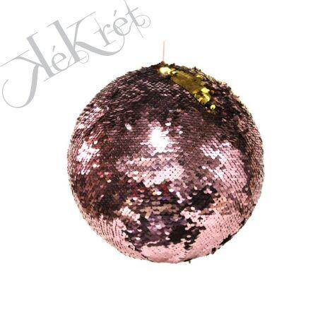 GÖMB flitteres, 10cm, rózsaszín/arany